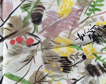 1940s-60s Swiss Silk Scarf with impresionistic wild flowers in red, yellow and green / hand rolled hem / Queen Ann's Lace