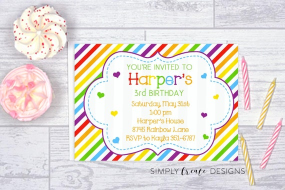 sale rainbow birthday invitation rainbow and hearts 5x7 invite jpeg