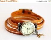 ON SALE Women Leather Watch,wrist watch,Leather Wrap Bracelet Watch,Autumn.Leaf,Leaves
