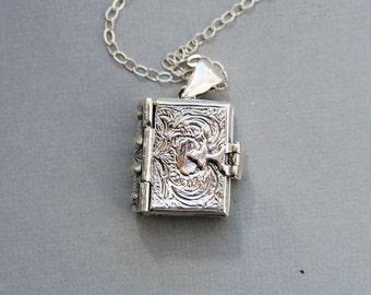 Locket Necklace, Sterling Silver Book Locket Holds 4 photos,locket,Wedding Bridal Necklace ,bridesmaid gift ,Necklace