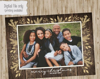 Rustic Christmas Photo Card, Gold Floral Holiday Photo Card, Holiday Card, Glitter Christmas Card, Glitter, Wood Holiday Photo