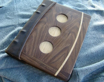 Custom Handmade Walnut and Leather Photo Album / Journal, with Maple Accents and Inlay, and Hemp photo mounting Paper