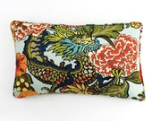 ON SALE Schumacher Chiang Mai Dragon Custom Pillow in Aquamarine with self welting 14 X 24 -Both Sides