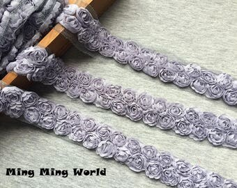 3 Yards Rose Chiffon Lace- 2 Row Grey Chiffon Rose Lace Trim Applique(C79)