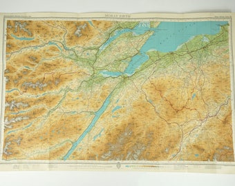 Vintage map of Moray Firth, Scotland, Inverness area map - Bartholomews 1948
