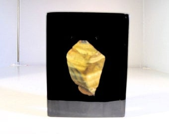 Tiger Eye Paperweight Enclosed in Transparent Epoxy with Black Wall from Brazil in the 1970's