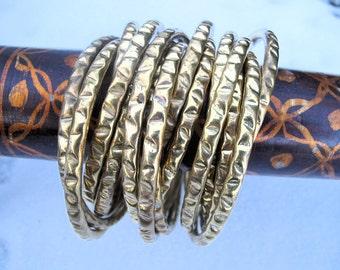 15 Vintage Interlocking Brass Bangle Set from India