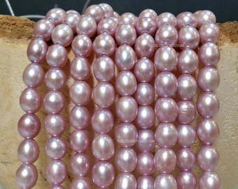 Light Purple AA Grade High Luster 7 x 8 to 9 mm Large Hole Freshwater Pearl Rice Beads - 1.6 mm hole 15.5 inch (ET3355NW38)