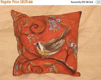 Sale Shabby Chic Fun Throw Pillow with Bird Motif French Market Design Floral Handmade Pillow Vintage Orange