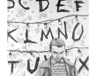 Stranger Things Giclee print of a pencil drawing of Eleven