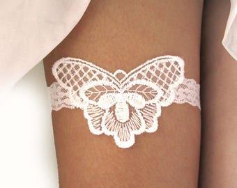Butterfly Lace Wedding Garter Bridal French Set Belt Rustic Jarretelle Jarretiére White Embroidery Mori Woodland Boho Hippie : PAPILLON