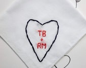 Custom Embroidered Handkerchief Cotton Gift Love Embroidery Anniversary Gift Wedding Embroidery Wedding Handkerchief