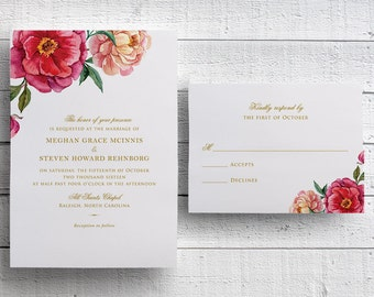 Floral Wedding Invitations, Outdoor Wedding Invitations, Spring Wedding Invitations, Garden Wedding Invitations, Summer Wedding