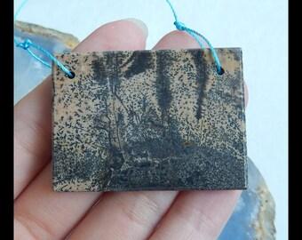 Chohua Jasper Gemstone Pendant Bead,Double Hole Pendant,45x33x6mm,23.3g(e0416)