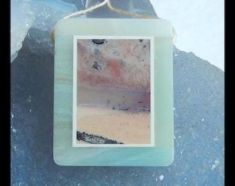 Ocean Jasper,Amazonite,White Jade  Intarsia Pendant Bead,36x29x7mm,17.1g(e0717)