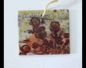 Natural Chohua Jasper Gemstone Pendant Bead,31x27x2mm,5g(e0830)