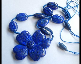 Natural Lapis Lazuli Carving Flower Necklace - Charm Necklace -Handwoven Necklace  45.1g