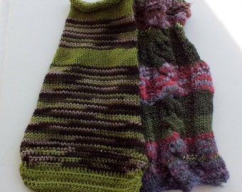 SPECIAL SALE Two hand knit dog sweaters for the price of one Medium