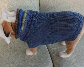 "Dog Sweater Hand Knit English Bulldog Novedosa 18"" inches long Merino Wool"