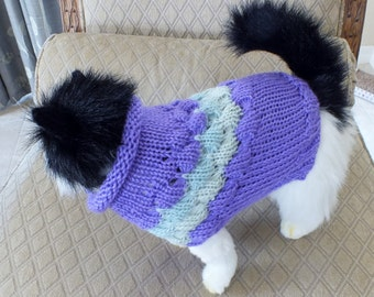 "Cat Sweater Hand Knit xsmall  Miss Fuzzypants 11"" long"