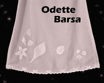 Vintage Odette Barsa Half Slip - 70s with Hand Embroidery - Pale Pink Summer Sea Shells