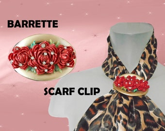 Romantic Hair Clip is a Red Rose Barrette or Scarf Pin, Scarf Slide, Scarf Clip, OOAK Womens Hair Barrette, Floral Hair Jewelry