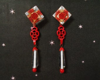 Red Flower Earrings are OOAK Long Retro Dangle Earrings Made with Vintage Carved Lucite Flower Posts, Postback Dangles in Gift Box