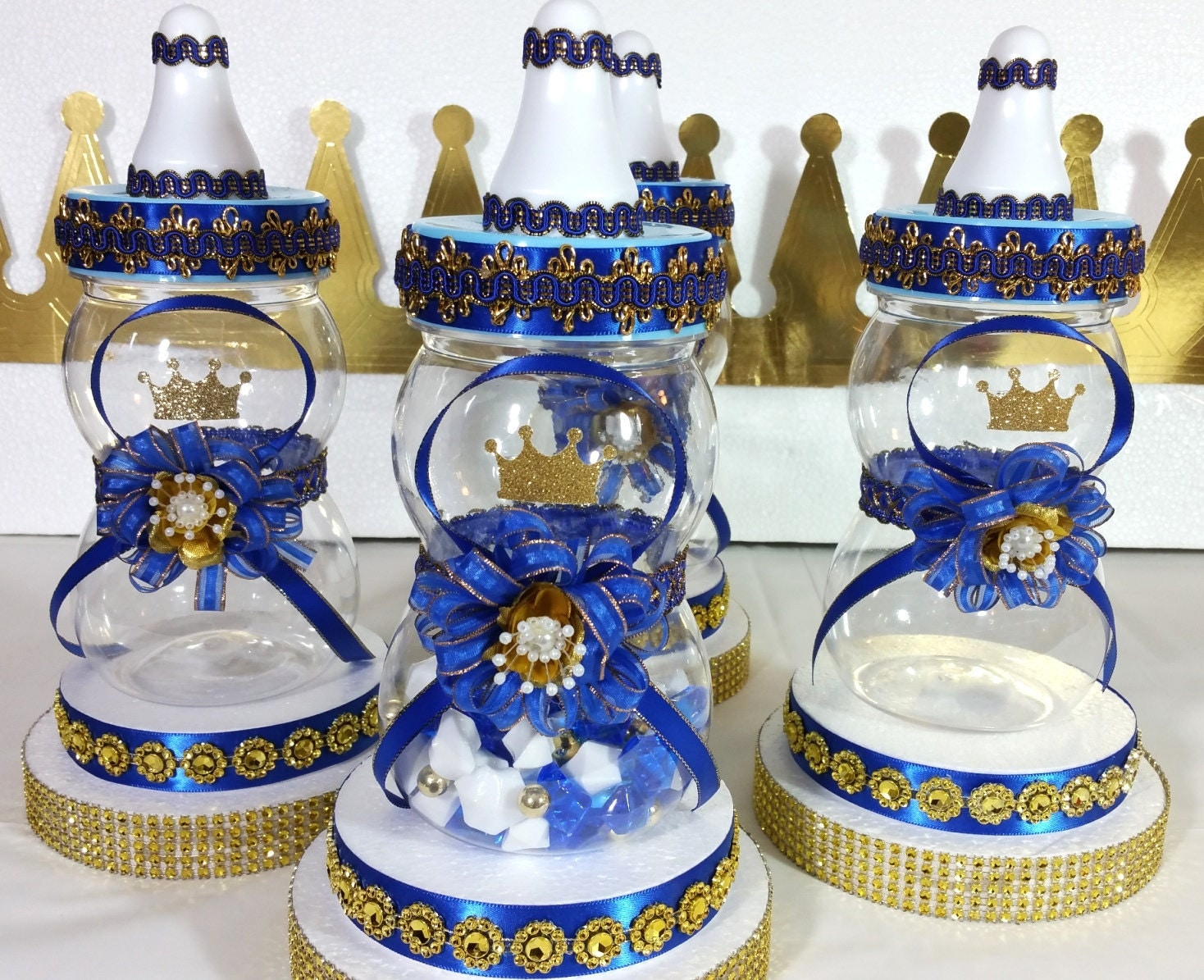 Royal prince baby shower centerpiece boys blue and
