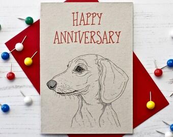 Dachshund Wedding Anniversary Card