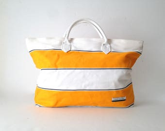 90s BEACH tote yellow & white BOATING striped oversize large tote bag