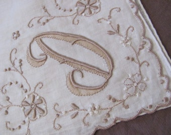 Vintage Solid White Cotton Hankie Monogrammed D