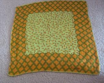Yvette Hankie // Beautiful Retro Green Orange Cotton Hankie - Signed Designer