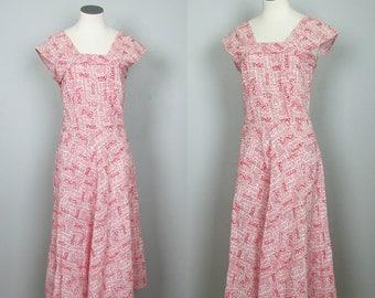Vintage 1940s Dress. 40s Dress. 40s Sundress. Tiki Oasis. Red White Coral Dress. 1950s Dress. 50s Dress. Cotton Sundress. Small Medium