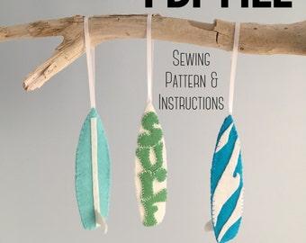 PDF Pattern Surfboard Ornament, PDF Sewing Pattern, Surf Decor, Surfer Gift, Beach Decor, Felt Ornament, DIY Gift, Surfboard Decor,Car Decor