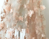 Gauze Lace Fabric With 3D Roses Pale Pink Rosette Tulle Lace Fabric For Wedding Costome Bridal Dress 50 Inches Wide 1 Yard