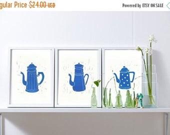 "Original Linocut  hand print set of 3  blue coffee pot ,Linoleum block print  numerated limited edition  - 8"" x 12"" wall art  -kitchen art"