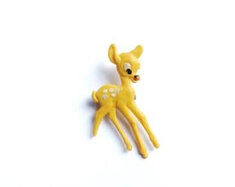 Vintage Bambi Plastic Brooch, Yellow, Disney, Fawn, Brooch Pin