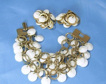 ON SALE Vintage White Bead Gold Metal Wring 4 Strand Cha-Cha Bracelet and Earrings Flat Faceted Plastic