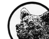 Bear Patch Grizzly Bear Patch Flair Embroidered Patch Sew On Patch Woven Patchgame Bears Bear Flair Animal Patch Black & White Patch