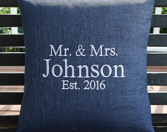 Personalized Mr and Mrs Indoor Outdoor Pillow Cover in Indigo Blue | Monogrammed | Gift | Embroidered | Anniversary | Wedding