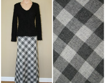 SALE High Waisted Gray Plaid Vintage 60s 70s Wool Long A-line Full Maxi Skirt sz XS