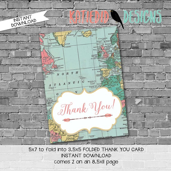 Adventure Awaits arrows map THANK YOU CARD folded 370 digital printable baby shower birthday retirement wedding bridal stationary