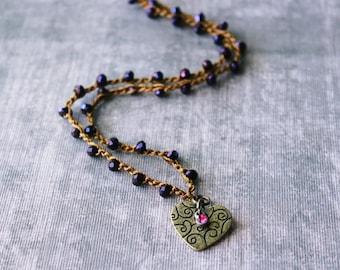 Boho Necklace, Boho Jewelry, Bohemian Necklace, Beaded Necklace, Heart Necklace, Bohemian Jewelry, Seashell Necklace, Valentines Gift