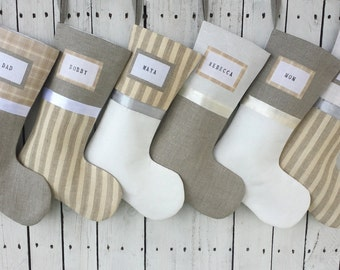 Christmas stockings in dreamy creams, champagnes and grays, costal stockings, ivory collection , vanilla stockings