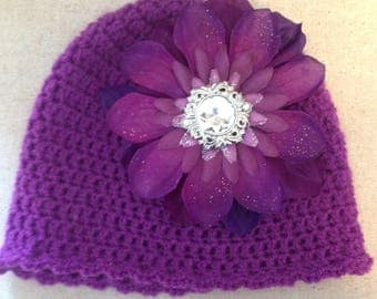 Infant baby crochet hat with removable clip on flower