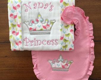 Nana bib and burp cloth, baby girl bib, cute burp cloth, baby shower gift