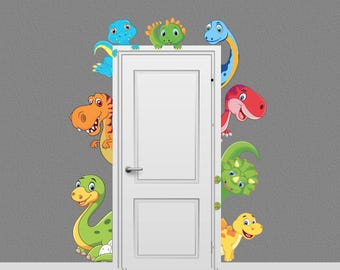 Dinosaur Animal Decal Peeking Door Hugger Dino Nursery Wall Decal