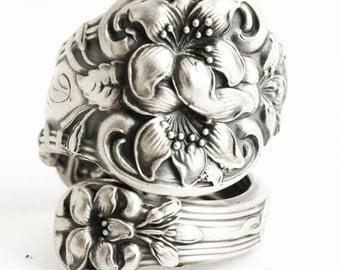 Orange Blossom Ring, Sterling Silver Spoon Ring, Orange Blossom Wedding, Flower Ring, DM Jewelery, Silver Floral Ring, Adjustable Ring, 6380