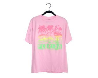 Vintage 1980's Florida Neon Bright Pink Palm Trees Flamingo Sunset Tourist Super Soft 50/50 Blend Crewneck T-Shirt, Made in USA - Large