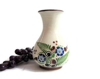 Tonala Pottery Vase, Mexican Folk Art, Hand Painted Flor de Tonala Flower Vase ... Vintage Mexico Pottery, Ceramics